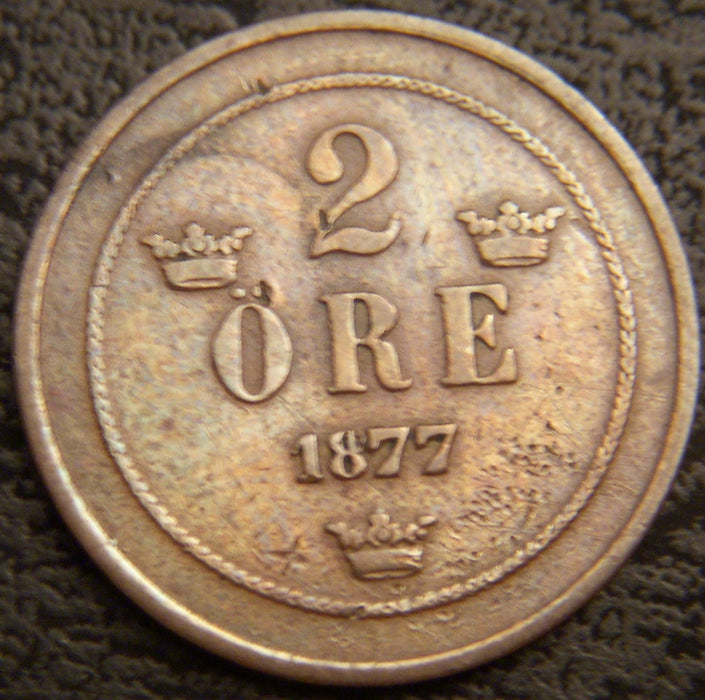 1877 2 Ore Small Letter - Sweden