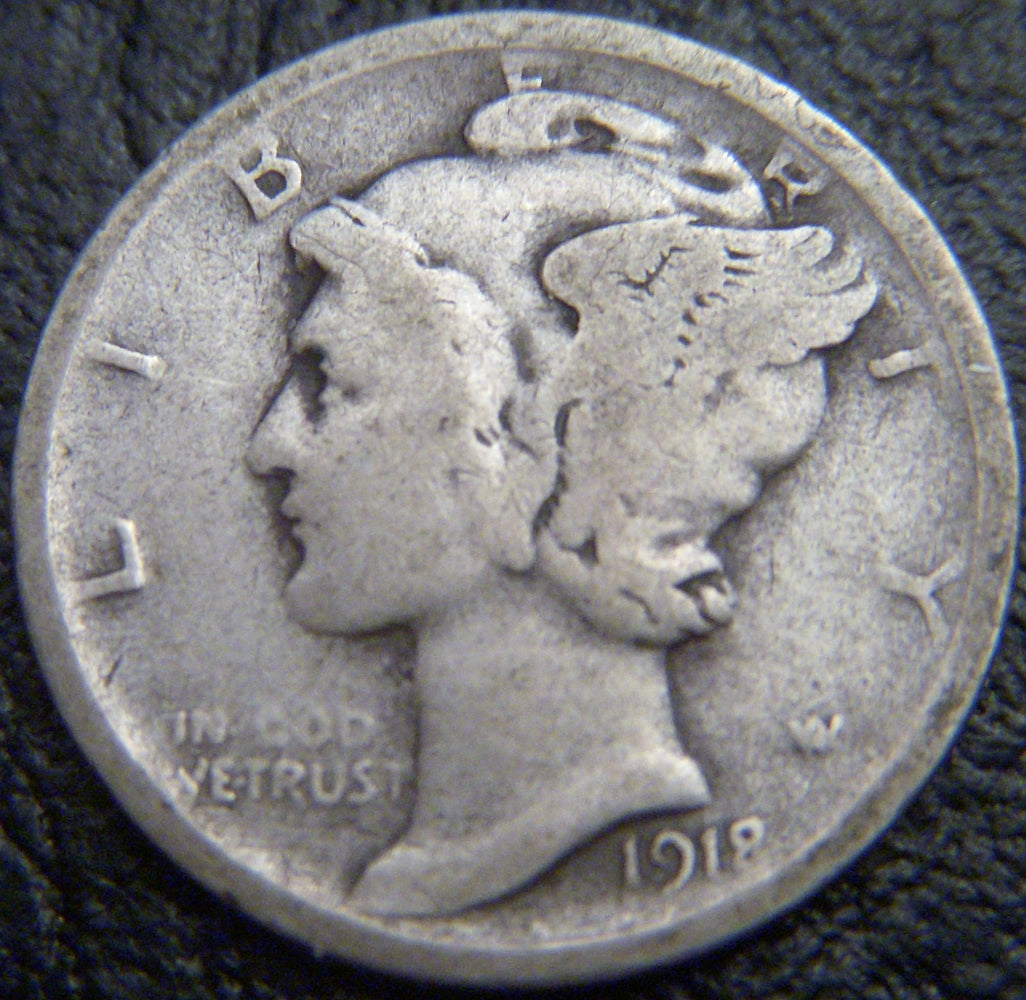 1918-D Mercury Dime - Good/VG