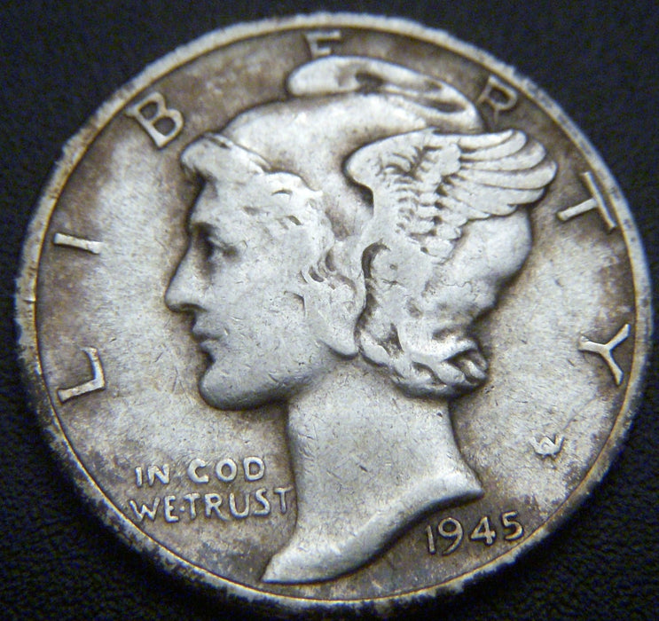 1945-D Mercury Dime - VF to AU