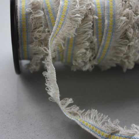 Fringe Linen Ribbon - Natural/Blue/Yellow