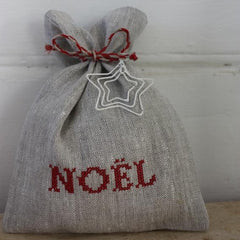 Noel Bag - Flax/Red