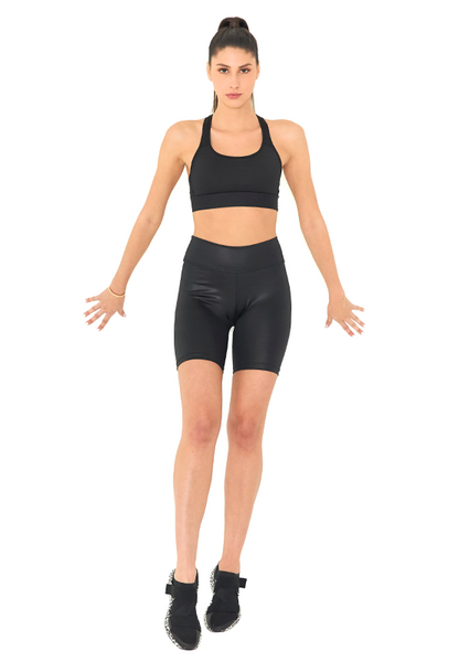 BeFit High Waisted Biker Shorts - Glossy Black