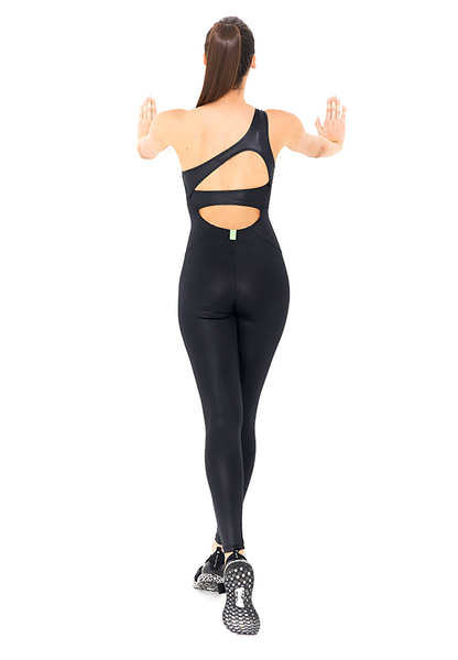 BeFit One-Shoulder Jumpsuit - Glossy Black