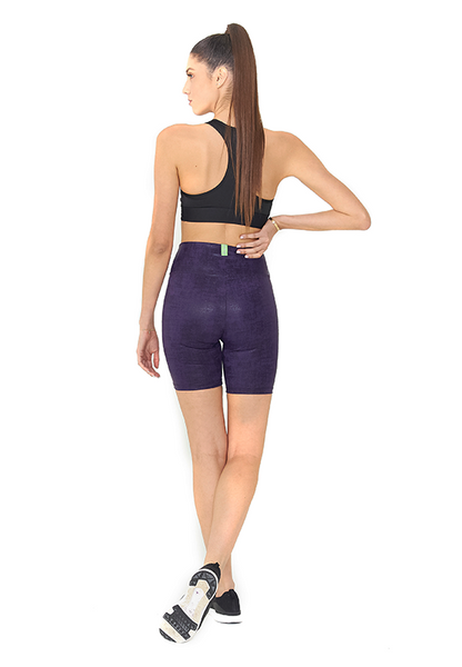 BeFit High Waisted Biker Shorts - Glossy Purple