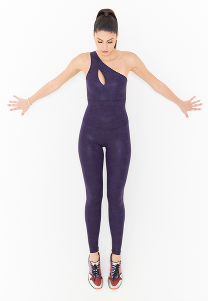 BeFit One-Shoulder Jumpsuit - Purple Pattent