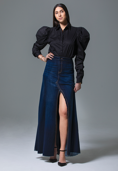 AxMJB - Wide Dark Denim Skirt