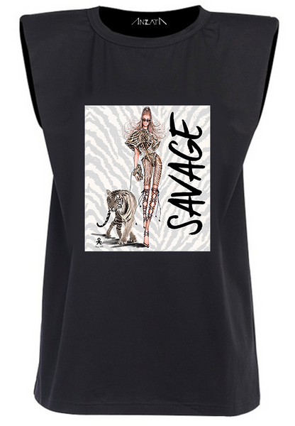 SAVAGE - Black Padded Muscle Tee