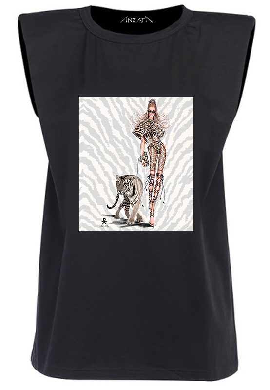 TIGER LIGHT - Black Padded Muscle Tee