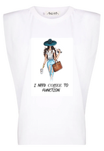 Load image into Gallery viewer, Coffee to Function - White Padded Muscle Tee