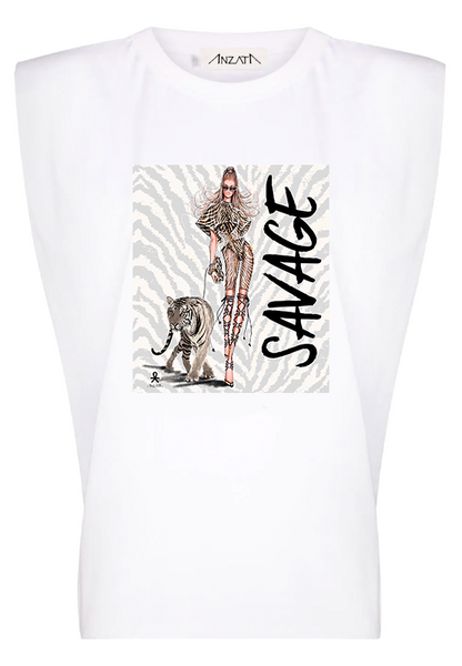 SAVAGE - White Padded Muscle Tee