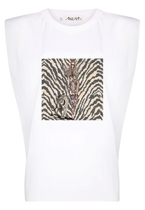 TIGER DARK - White Padded Muscle Tee