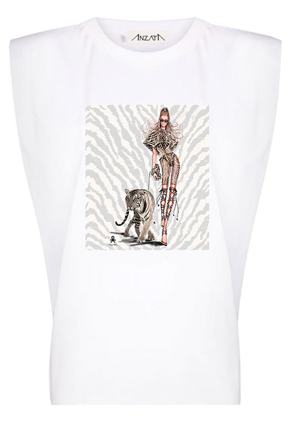 TIGER LIGHT - White Padded Muscle Tee