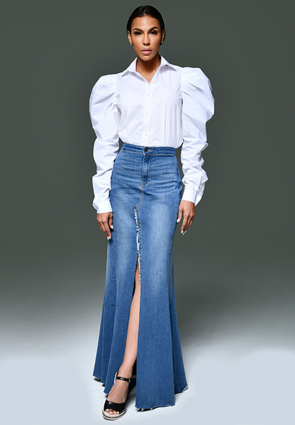 AxMJB - Wide Denim Skirt