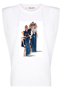 CLAU + MJB Fashion Duo - White Padded Muscle Tee