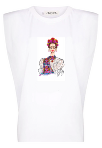 Flower Girl - White Padded Muscle Tee