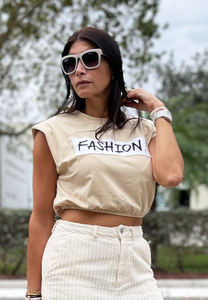 SAVAGE - Nude Padded Crop Tee