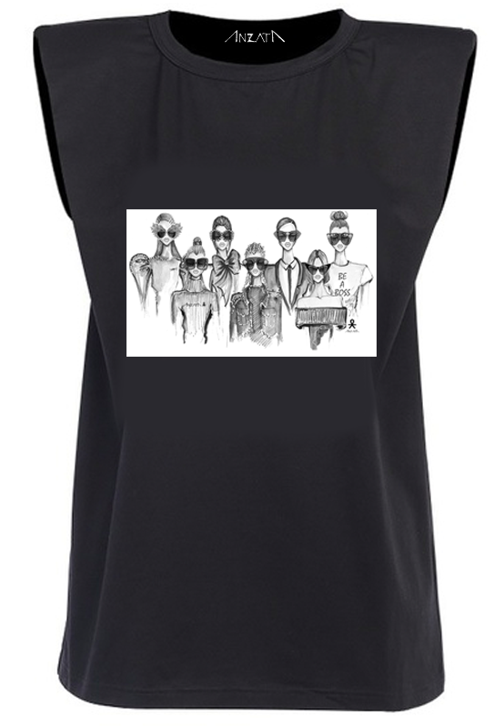 SQUAD - Black Padded Muscle Tee