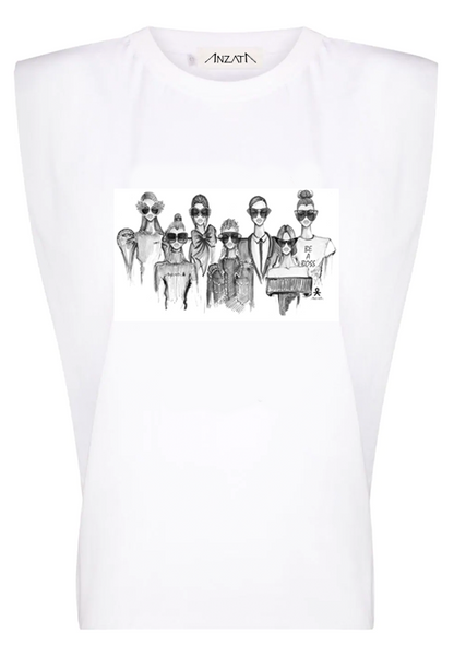 SQUAD - White Padded Muscle Tee