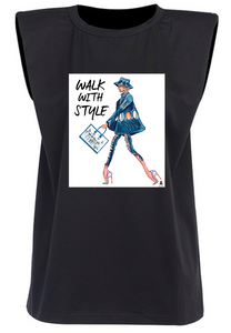 WALK WITH STYLE - Black Padded Muscle Tee