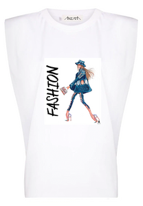 DENIM FASHION - White Padded Muscle Tee