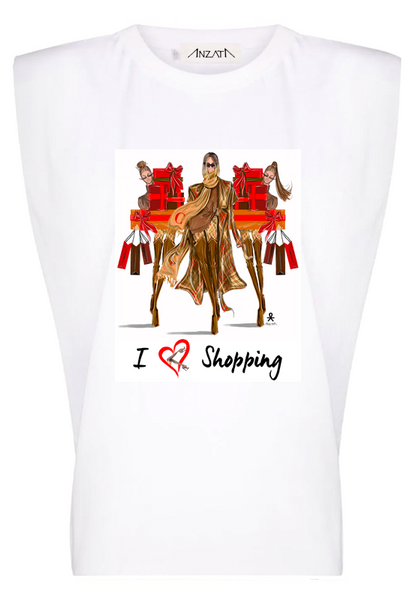 I Heart Shopping - White Padded Muscle Tee