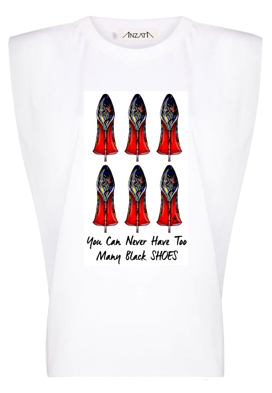 Never Enough Shoes - White Padded Muscle Tee