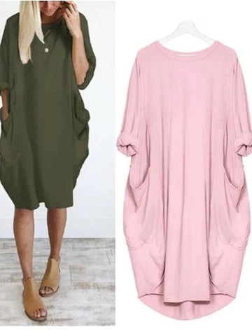 Cocoon Daytime Batwing Pockets Solid Dress