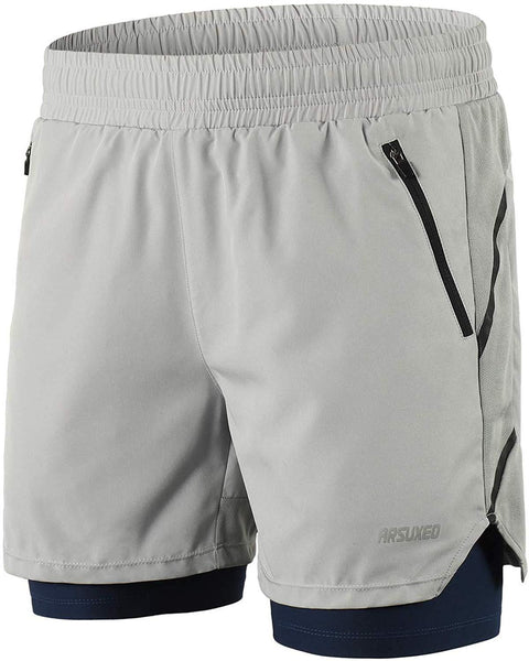 ARSUXEO Men's 2 in 1 Active Running Shorts with 2 Zipper Pockets