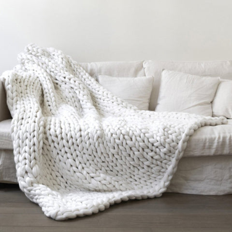 Handmade Thick Soft Wool Chunky Knitted Blanket
