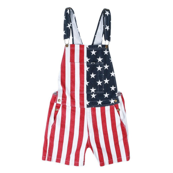 Copy of American flag overalls shorts& skirt