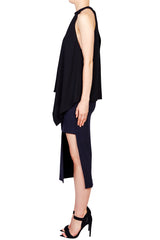 Nicholas - Crepe Roll Neck Draped Tank