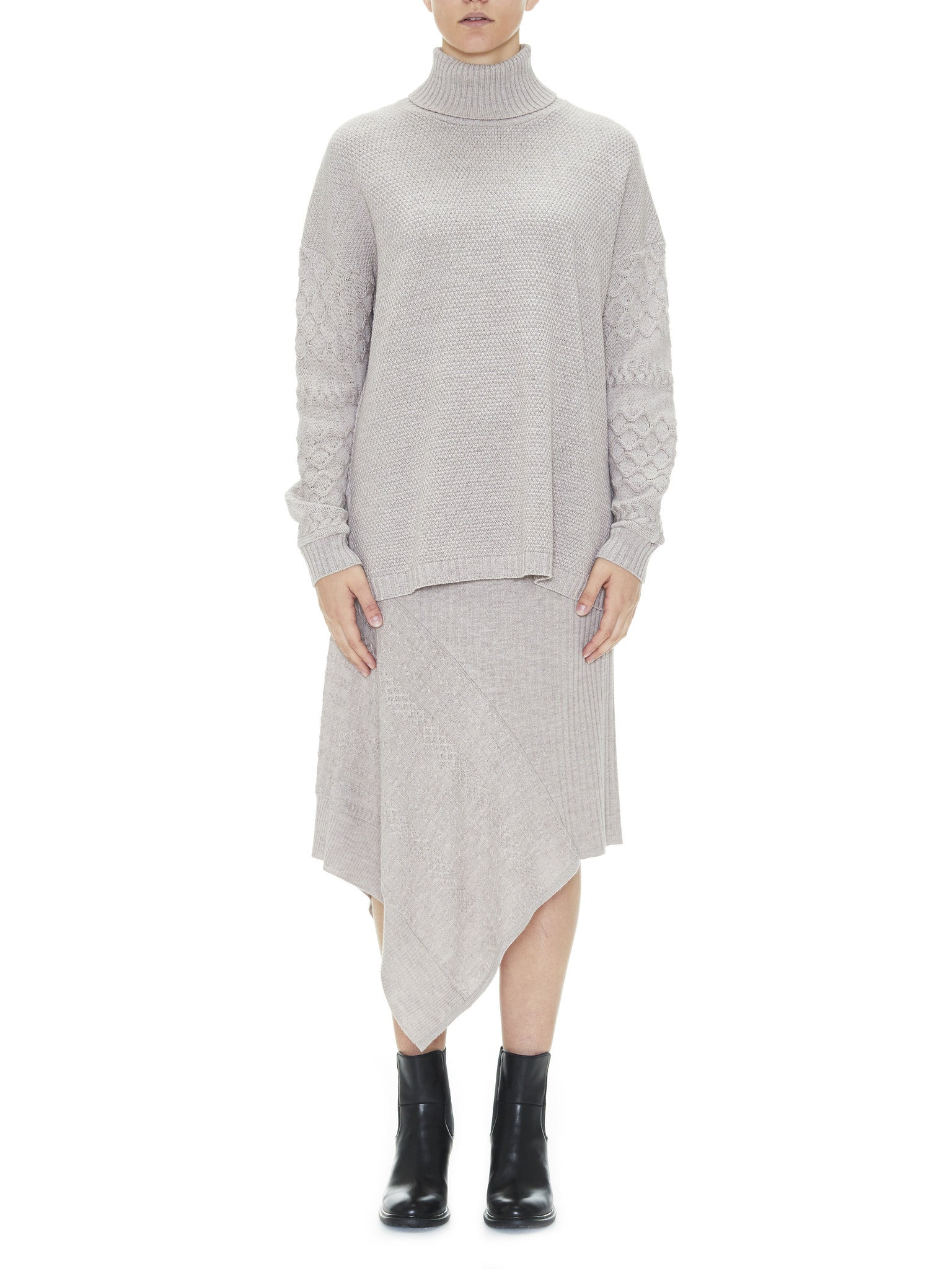 Sabatini Textured Cable Roll Neck jumper milk