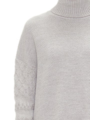 Sabatini Textured Cable Roll Neck jumper in milk