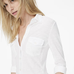 James Perse Contrast Panel Shirt White