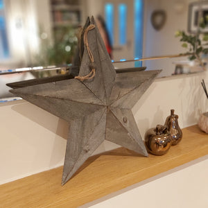 Greywashed Wooden Amish, Lucky, Barn Star - 2 Sizes