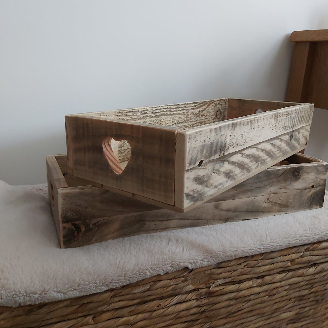 Natural Rustic Wooden Tray with Heart Cut Out