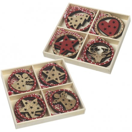 Red and Wood Cut Out Decoration Mix