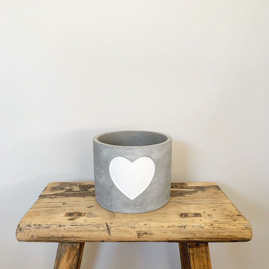 White Heart Cement Planter - 3 Sizes