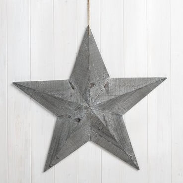 Greywashed Wooden Amish, Lucky, Barn Star - various sizes