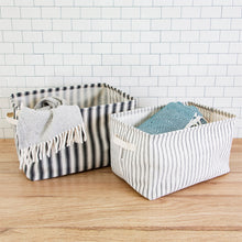 Load image into Gallery viewer, Sass & Belle Ticking Stripe Storage Baskets - Set of 2