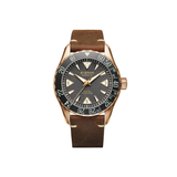 Luxury Auto Eterna Kontiki Bronze Limited Edition 44mm Matte Black Dial Brown Leather Automatic Watch 1291.78.50.1422