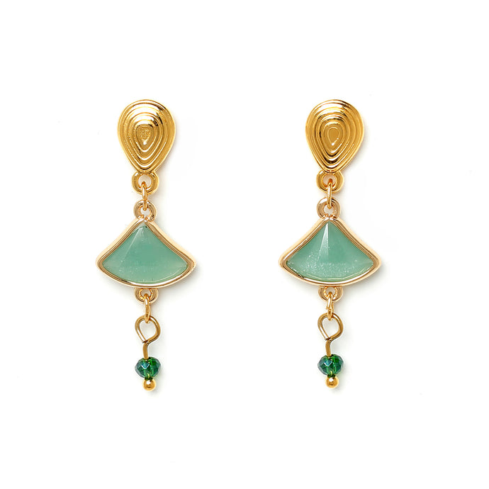 Aqua Triangle Earrings