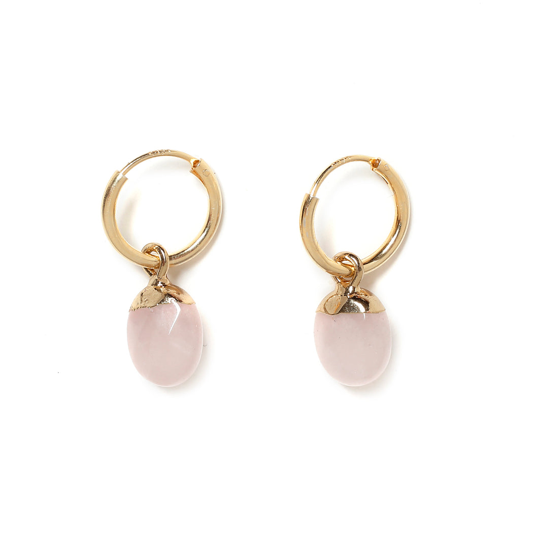 Rose Quartz mini hoops