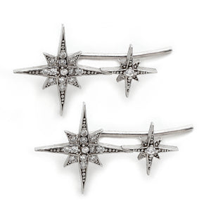 Double North Star Ear Climbers in Silver