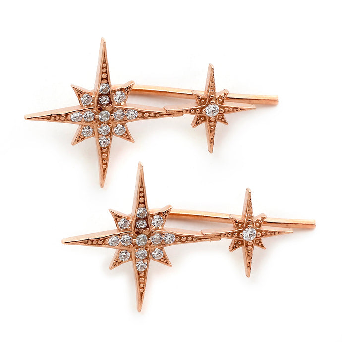 Double North Star Ear Climbers in Rose Gold
