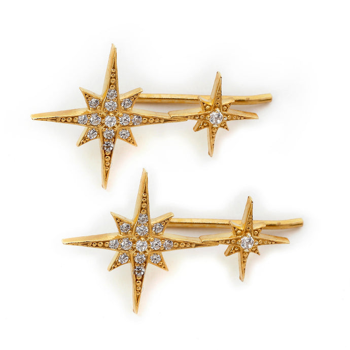 Double North Star Ear Climbers in Gold