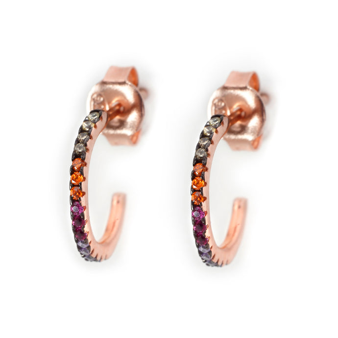Rainbow Fine Hoops in Rose Gold