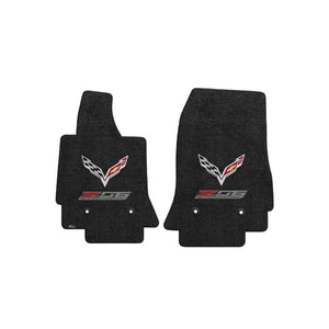 C7 Corvette Z06 w/ Crossed Flags Floor Mats - Lloyds Mats: Jet Black