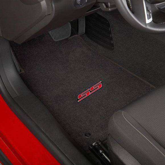Camaro 2010-2015 2 Piece Floor Mats - Ultimat Lloyds Mats with SS Logo Script: Jet Black