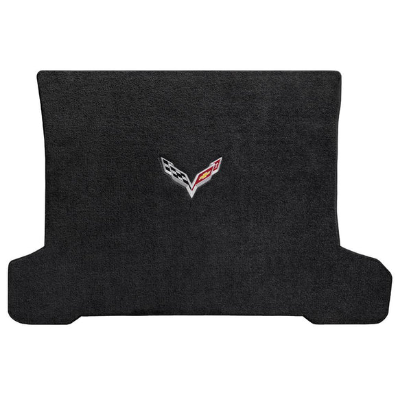 C7 Corvette Stingray (Coupe) Cargo Mat  - Lloyds Mats with C7 Crossed Flag: Jet Black